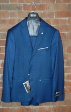 Brand New 36 S  Slim Fit Henry Uomo Royal Blue Window Pane Plaid 2pc Mens Suit