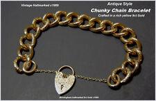 Chunky Chain Bracelet + Padlock Fastener Birmingham 9ct Gold HM Antique Style