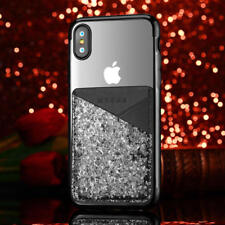 Chrome Bling Glitter Card Holder Tpu Phone Case Cover For iPhone X 8 6S 7 Plus