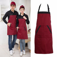 Women Men Solid Aprons Washable Pocket Kitchen Restaurant Cooking Bib Aprons New