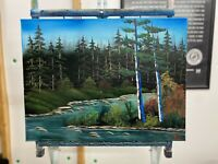 "Original Oil Painting 18x24 ""River's Bend"" Art/Landscape (Bob Ross Inspired)"