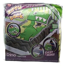 As Seen on TV Zippy Sack Dinosaur Fitted Twin Bed Soft Fleece Blanket Green Dino
