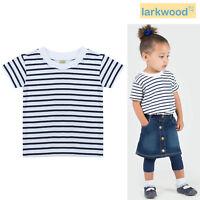Larkwood Kids Short Sleeve Striped T-shirt LW027 - Baby Cotton Tee Crew Neck Top