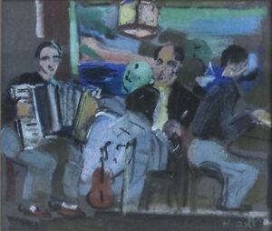 Henriette Deloras (French, 1901–1941) Pastel on Paper Musicians Signed c.1930