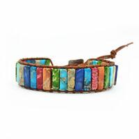Handmade Chakra Natural Stone Tube Beads Multi Color Leather Wrap Bracelet
