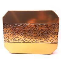 Large Square Gold Collectible Tin w/ Relief Scrollwork Band On Lid