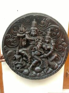 Hindu God Shiva Parvati Ganesh Temple Wall Panel Siva Pariwar Statue Sculpture