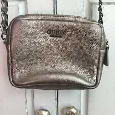 GUESS Gray Silver 100% Leather Small Mini Handbag Metal Details Adjustable Strap