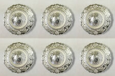 Set of 6 Western Horse Saddle Tack Bright Silver Engraved Rope Edge Conchos 1""