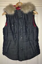 BNWT GAP RED Blue Soft Denim Hooded Gilet With Removable Faux Fur Trim - Size S