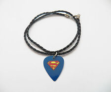 SUPERMAN  guitar pick plectrum braided LEATHER NECKLACE 20""
