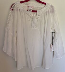 Love Squared Girls- Girl's White Peasant Top-Size 10-NWT
