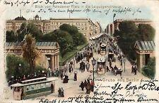 Lithographie aus Berlin mit dem Thema Straßenbahn