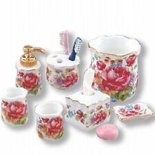 DOLLHOUSE Bath Items 1.617/8 Reutter Dresden Rose tissue lotion waste bskt soap
