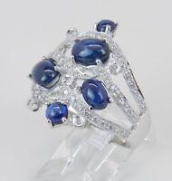 Vintage Blue Sapphire Cabochon & Diamond 14k White Gold Finish Cocktail Ring