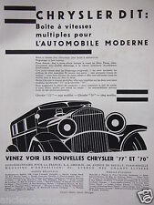PUBLICITÉ 1930 CHRYSLER 77 ET 70 DIT BOITE A VITESSES MULTIPLES - ADVERTISING