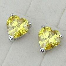 Pretty White Gold Filled 8mm Yellow Heart Shape CZ Stud Earrings