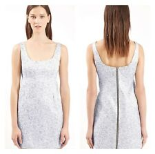 Topshop Unique Angie Brocade Silver Shimmer Floral Wedding Guest Zip Dress 8 4 S