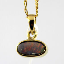 GENUINE SOLID BLACK OPAL WITH 18K YELLOW GOLD PENDANT + FREE CHAIN - RED