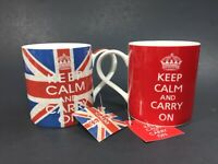 Keep Calm and Carry On Union Jack Classic Kent Pottery Original Mugs LOT of 2