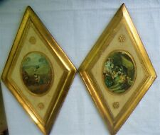 SET 2 VINTAGE HANDMADE TOLE WARE WOOD WALL PLAQUES GOLD GILT BY EMPIRE OF ITALY