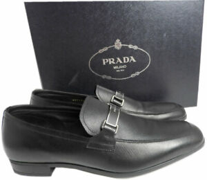 $695 PRADA Loafers Men's Saffiano Leather Bit Shoes 11 UK  Moccasins 12 US