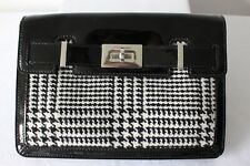 KAREN MILLEN STYLISH CLUTCH BAG WOOL TWEED & BLACK PATENT LEATHER