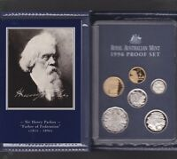 1996 Australia Proof Coin Set in Folder with outer Box & Certificate