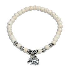 Fashion Turquoise Beads Tibet Silver Elephant Charm Pendant Elastic Bracelet 6mm