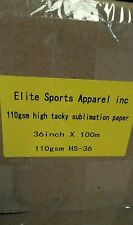 """DYE SUB SPEED TRANSFER PAPER 100GSM 36"""" X 100 M Sublimation Paper Rolls"""