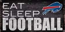 """Buffalo Bills Eat Sleep Football Wood Sign - NEW 12"""" x 6""""  Decoration Gift"""
