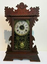 Antique American Wm. Gilbert Oak Shelf Clock Lake No. 5 Original Finish 1890's!
