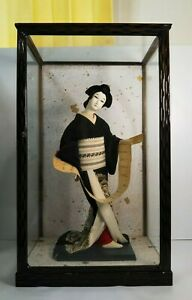 """Antique Japanese Geisha Doll in Kimono 15.5"""" 40cm in glass case holding a letter"""