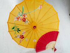 JAPANESE S YELLOW PARASOL RED PAPER HAND FAN CHINESE UMBRELLA NEW YEAR PARTY