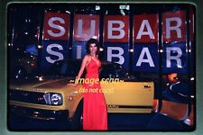 1975 Pretty Woman Car Show Model with Subaru, Original Kodachrome Slide b7a