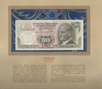 Most Treasured Banknotes Turkey 50 Lirasi 1970 UNC P 188a.1 UNC Prefix F19