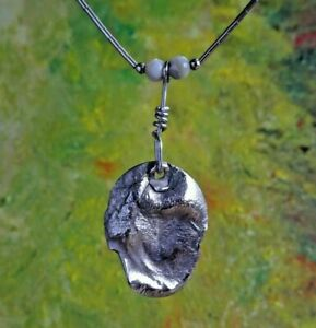 Unusual and pretty studio solid sterling silver pendant & chain necklace.