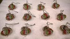 12 HANDMADE CHRISTMAS ORNAMENTS MADE WITH BLING APPLE GREEN SILVER AND RED