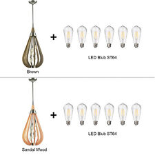 6-lt Indoor Wooden Pendant Light Contemporary Chandelier Dining Lighting Bonito Brown Included LED St64 Bulb