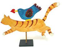 Vintage Judie Bomberger Bird On Cat Signed Sculpture Metal