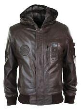 Men Brown Real Leather Hood Fleece Lined Bomber Pilot Aviator Flying Jacket Warm