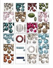 Beads ACRYLIC RUBBERIZED COATED w/ Swirl Pattern ~ Mixed Sizes, Shapes & Colors