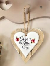 The Little Things Floral Heart Shabby Chic Hanging Plaque Sign