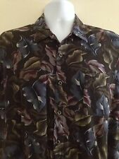 Triumph Of California Mens Casual Shirt Gray Floral Print Large Rayon Blend