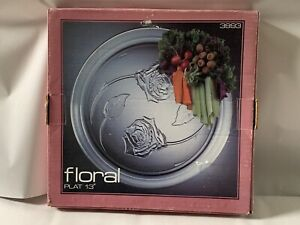 """NEW Indiana Glass Co. 13"""" Floral round clear embossed serving platter FREE SH"""