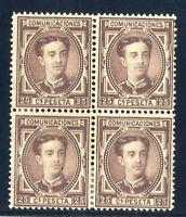 Sellos de España 1876 nº 177 Alfonso XII Bloque de Cuatro Sellos Nuevos