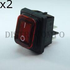 Interrupteur rectangulaire IP65 bipolaire 30.6x22mm ON OFF rouge (lot de 2)