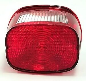 Tail Lamp Lens & Bulb Assm. Stock Style, Red, fits Harley-Davidson
