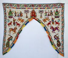 Vintage Door Valance Window Decor Wall Hanging Hand Embroidered 46 x 40 inch X11
