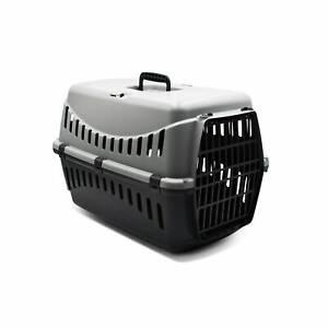 Caisse de transport pour petit chien et chat. taille S. gris anthracite. poignée